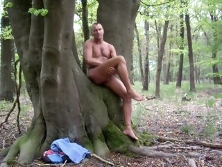 naked Naked in the woods and jerking off woods