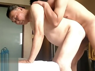 china china young son's bisexual fun with old daddy couple son